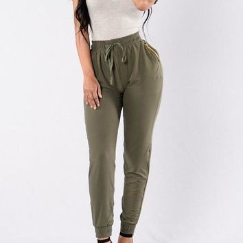 Green Zipper Pockets Drawstring High Waisted Long Pants