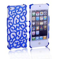 Kobwa(TM) Dark Blue Chrome Electroplating Hollow Pattern Hard Case Cover for Apple iPhone5 5S With Kobwa's Keyring