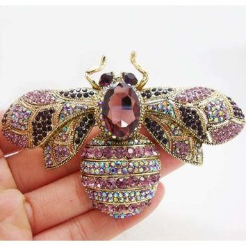 Charming Retro Bee Insectl  Woman Brooch Pin Purple Crystal Rhinestone Gold Tone