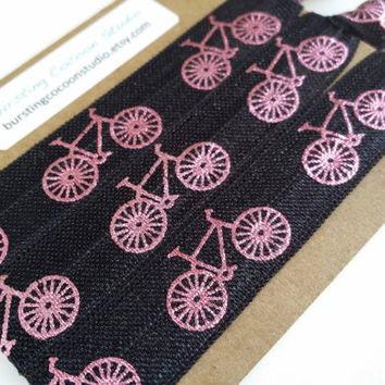 Set of 3 black hair ties with pink bikes, cycling hair ties,  bicycles FOE, foldover elastic, bike ponytail holders, sports, spin hairties