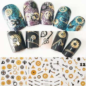 latest 2pcs new trend 3D Self-adhesive punk Steam Machine Gear design Nail Art Sticker Ultra-thin 3D time wheel Decal For Nails