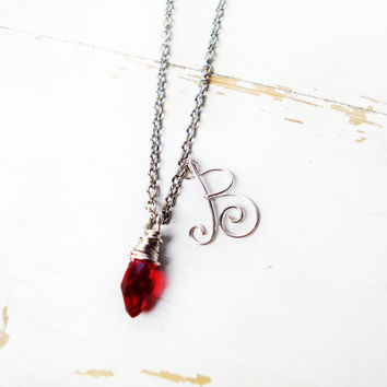 Initial Necklace Red Drop Necklace Personalized Jewelry Bridesmaid Gift Box Pendant Necklace Silver Women Elegant Custom Cheap Will You Be