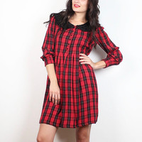 Vintage 90s Dress Red Black Plaid Mini Dress 1990s Soft Grunge Babydoll Dress Beaded Peter Pan Collar Dolly Lolita Flannel S Small M Meidum