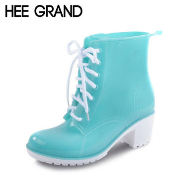HEE GRAND Rain Boots Women Ankle Boots Platform High Heels Rubber Shoes Woman Lace Up Rainboots Candy Color Size 36-41 XWX4134