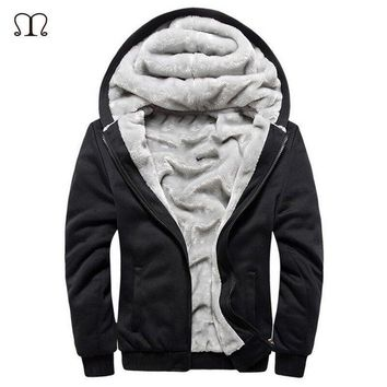 USA SIZE 2017 Men Winter Autumn Solid Color European Fashion Bomber Mens Vintage Thick Fleece Jacket Men Winter Jackets Coats
