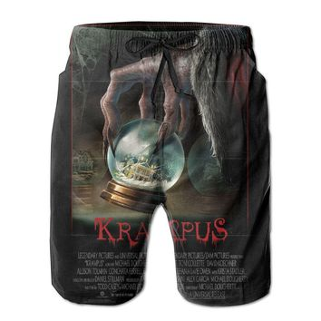 Fantasy Horror Movie Krampus Tickets Mens Fashion Casual Beach Shorts