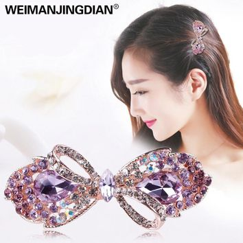 WEIMANJINGDIAN Beautiful Crystal Rhinestones Bow Peacock and Candy Hairclips Barrettes Hairpin Fashion Hair Jewelry for Girls