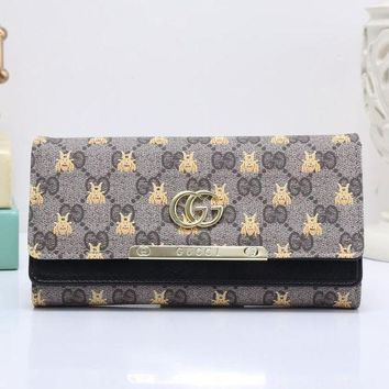 DCCK GUCCI Bee Women Fashion Embroidery Leather Buckle Wallet Purse5