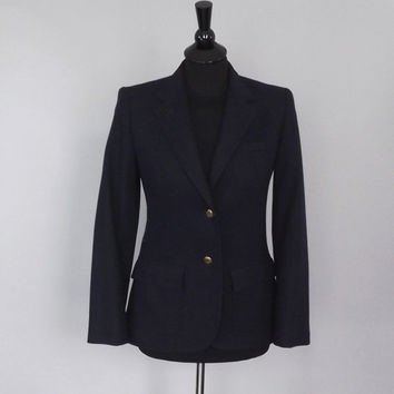 Vintage 80s 90s The Villager Navy Blue Wool Blazer Travel Jacket Suit Coat SIze 8 Medium Boho Preppy Nautical Military Sailor Classic