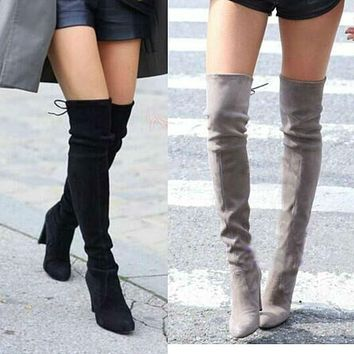 Women Faux Suede Thigh High Over the Knee Boots Stretch Sexy Overknee