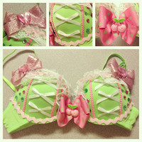 34B Green and pink cherry rave bra by bassbunnydesigns on Etsy
