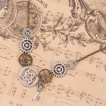 DoreenBeads New Fashion Steampunk Statement Necklace Link Cable Chain Antique Bronze Gear Key Pendants 45.5cm long, 1 Piece
