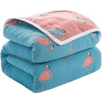Flamingo Claud Print 6 Layers Gauze Cotton Air Condition Summer Quilt Comforter Throw Blankets for Adults Kids Plaids Bed Covers