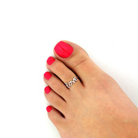 Celebrity Women Fashion Simple Love Open Toe Ring Adjustable Foot Beach Jewelry