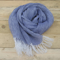 Blue linen scarf, scarf with knot fringe, linen scarves, scarf linen, linen shawl, pure linen scarf, soft scarf, women scarf, men scarf