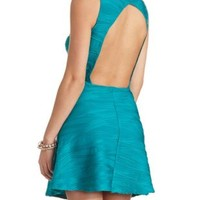 Textured Open Back Skater Dress by Charlotte Russe - Teal