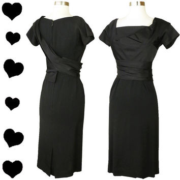Vintage 50s Black Dress // Draped Sheath XS S Short Sleeves Cocktail Party Rayon Wrap Shelf Bust Rockabilly Pinup Party