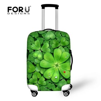 FORUDESIGNS Four Leaf Clover Prints Elastic Luggage Protective Covers For koffer Thick Waterproof Travel On Road Suitcase Cover