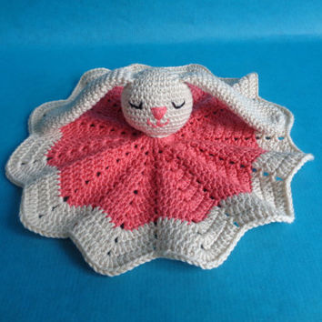 Crocheted bunny lovey, crocheted security blanket, pink security blanket, bunny security blanket, babyshower gift, newborn gift, babygirl