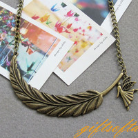 Feather Necklace  Antique brass feather necklace by GiftsofTansy