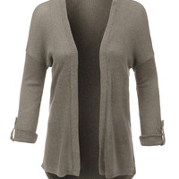 LE3NO Womens Lightweight Ribbed Open Front Long Sleeve Cardigan (CLEARANCE)