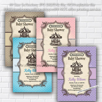 Carousel Baby Shower Invitation Merry go round Baby shower , vintage invitation, baby boy baby girl Invitation Card Design - card 63