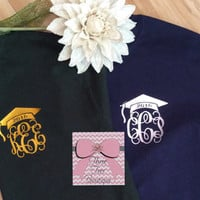 Monogram Class of 2016 T-Shirt Monogram Graduation TShirt Any Class Year Graduation Cap with Monogram Tee Shirt Glitter Monogrammed Gifts