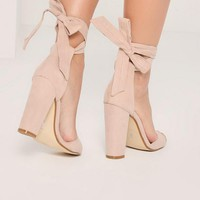 Missguided - Nude Curved Vamp Block Heeled Sandals