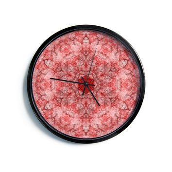 "Justyna Jaszke ""Mandala Red Art"" Red White Abstract Pattern Digital Mixed Media Modern Wall Clock"