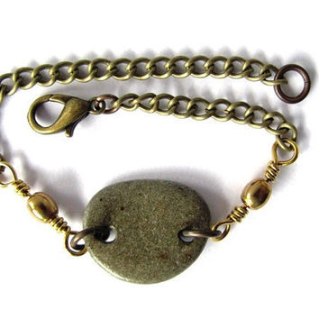 Beach Stone Bracelet Brass Chain Natural River Rock Jewelry By Hendywood