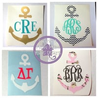 4x3 Monogrammed Anchor Decal for Car, Laptop, Tablet - Custom Nautical Sticker - Sorority Gift Mom Friend Sister Hostess Teacher