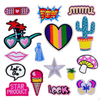 16pcs/lot DIY Iron On Patch Set-Pills Maple Leaves Love Heart Cactus Red Lips Ice Cream Pineapple Mushroom Twinkle Star Butterfly Patch