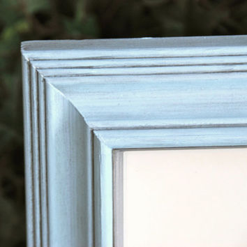 Cottage chic nursery decor: Pale vintage baby blue & silver 11x14 decorative hand-painted chunky wooden wall collage gallery picture frame