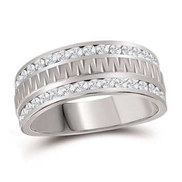 14kt White Gold Mens Round Channel-set Diamond Grecco Textured Double Row Wedding Band Ring 1.00 Cttw