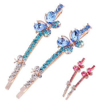 1Pair Korean Women Girls Crystal Rhinestone Butterfly Hair Clip Barrette Hairpin Hairband Clamp Hair Accessories