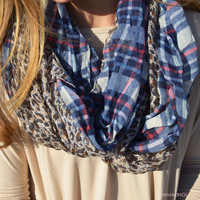 Hear Me Roar Leopard & Plaid Navy Infinity Scarf - Navy
