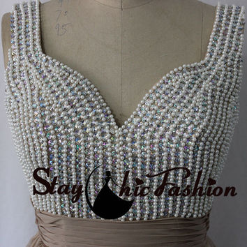 2015 Nude Long V Neck Rhinestones Pearls Beading Bust Chiffon Prom Formal Occasion Dress