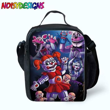 Five Night at Freddy Cartoon Print Lunch Bag for Children Thermal Lunch Box Bag Women Picnic Bags for Food Meal Box ping