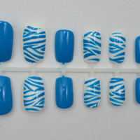"Artificial Nails - ""Zebra"" - Blue & White (Other Colors Available), Hand Painted, Glue-on Fake Nails"