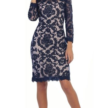May Queen - Scalloped Damask Lace Illusion Cocktail Dress