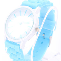 Baby Blue Detailed Round Face Rubber Watch