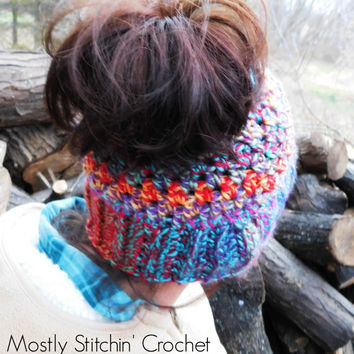 The Messy Pony Tail Hat; Crochet Pattern Only; PDF