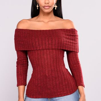 Paulina Off Shoulder Top - Burgundy