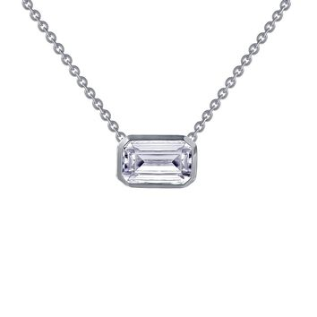 Lafonn Sterling Silver Bezel Set Emerald Cut Solitaire Simulated Diamond Necklace
