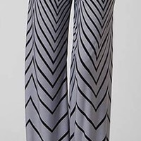Black Gray Sexy Aztec Chevron Print High Waist Knit Palazzo Pants Wide Leg