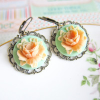 Mint Green Peach Earrings Orange Dangling Earrings Wedding Bridemaids Gift Mint Rose Flower Floral Earrings Shabby Chic Autumn - Alyssa