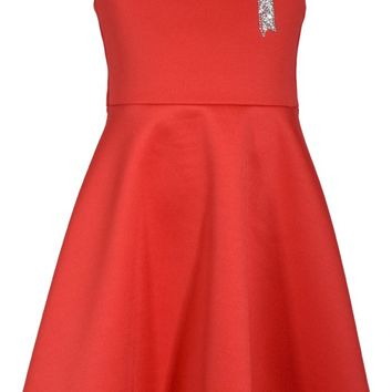 2018 Christmas Red Bow Trim Dress