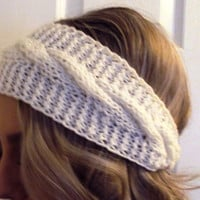 White Hand Knitted Tapered Headband/ Hairband/Ear Warmer/ Winter Accessory/ Winter wear for Women Teen Girls Cable Knit Ready to Ship