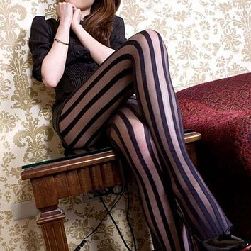 2017 New Arrivel Women Girl Gothic Punk Sexy Vertical Stripe Pantyhose Stockings Tights Black Hot
