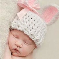 White / Pink Bunny Knit Hat Outfit Set - CCA76